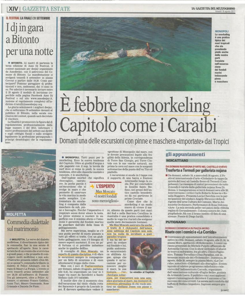 articolo Gazzetta Mezzogiorno Snorkel